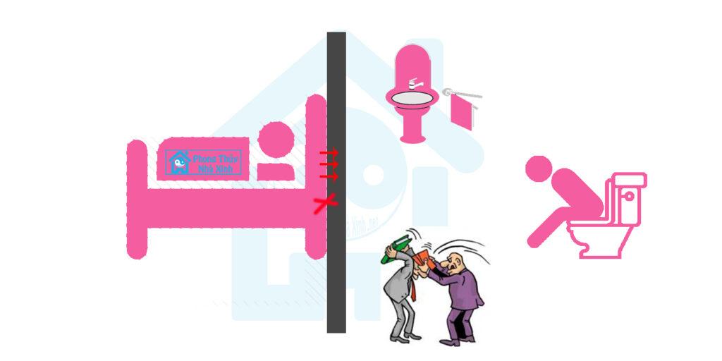 Đầu giường tựa vào vách tường nhà vệ sinh là phạm vào kiêng kỵ