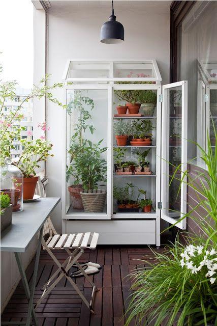 Đặt tủ ngoài ban công với những chậu cây nhỏ sẽ biến không gian trở nên vô cùng đẹp mắt