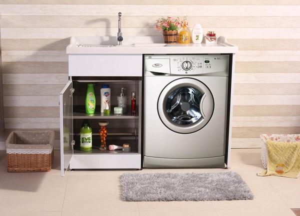 Tủ đặt máy giặt kết hợp bồn rửa tay vô vùng tiện lợi