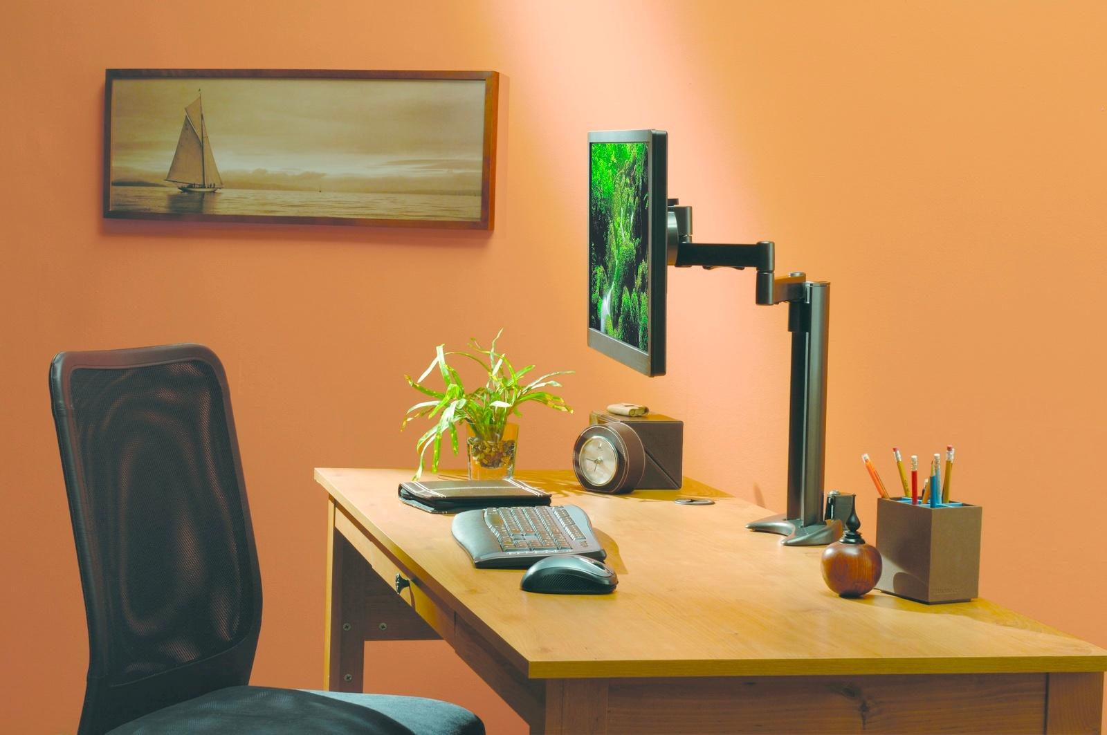 Nên bài trí một chút cây xanh cạnh máy tính, không treo tranh sơn thủy