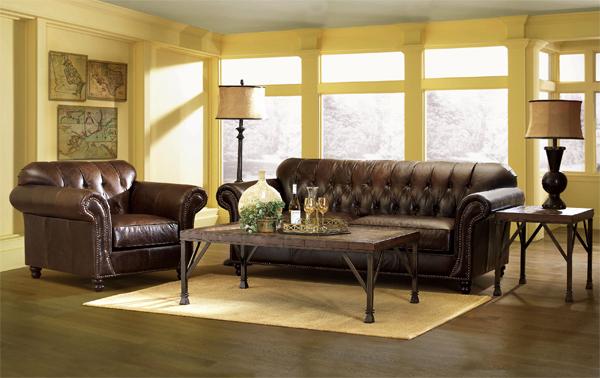 Phòng khách hướng Đông Bắc sang trọng với nội thất màu nâu vàng (Ảnh minh họa)
